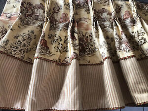 GORGEOUS P FREY CUSTOM PINCH PLEAT VALANCE~TOILE&STRIPE~(4)AVAILABLE