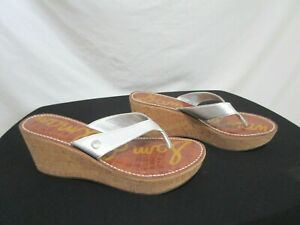 EUC! Sam Edelman Romy Silver Faux Leather Platform Wedge Heel Sandals Shoes 9.5M
