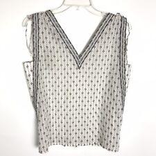 20a8bc761485 Ann Taylor Loft NWT Sleeveless Beige Black V Neck Leaf Print Top Blouse Size  SP