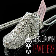 Mens 10k White Gold Silver Real Lab Diamond Jumpman Jordan Shoe Pendant Charm