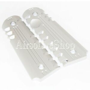 Airsoft Army Force CNC Aluminum Pistol Grip Cover For M1911/M.E.U. Silver