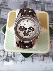 Fossil Herren Uhr Chronograph CH 2565 Edelstahl Silber Ziffernblatt Silber Leder