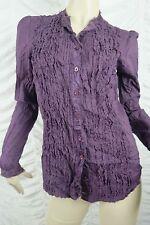 DECJUBA purple plum raw edge hemmed long sleeve collarless blouse size 10 EUC