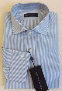 295 Ralph Lauren Black Label French Cuff Lng Slevs Striped Polo Dress Shirt 16.5