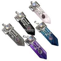1x Natural Quartz Crystal Healing Gemstone Pendulum Pendant DIY Necklace Jewelry