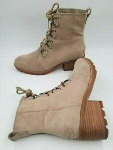 Sorel Cate Lace Up Combat Boots NL3716-251 Tan Suede Waterproof Women's 8.5M