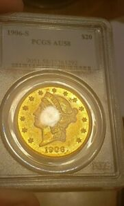 1906-S PCGS AU58 $20 Gold Liberty Double Eagle Great Eye Appeal Looks Proof like