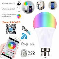 Wifi Smart LED RGB Light Bulb App Control B22 For Amazon Google Alexa Home UK