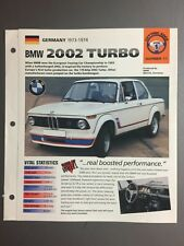 "1973 - 1974 BMW 2002 Turbo Sedan IMP ""Hot Cars"" Spec Sheet Folder Brochure #1-11"