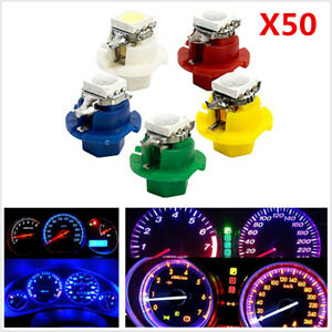 50Pcs T5 B8.4D 5050 1SMD LED Indicator Cluster Gauge Dashboard Dash Side Lights