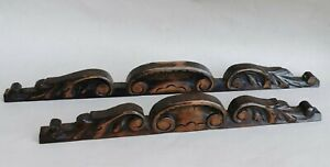 2 Antiques Wood Walnut Pediments Carved Shell Leaf Leaves Architectural Salvage