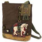 New Chala Handbag Patch Crossbody HORSE Bag Canvas gift School Travel Dark Brown