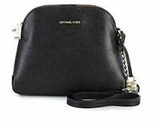 MICHAEL KORS NWT $228 Mercer DOME Black Pebble Leather Crossbody Zip-Around