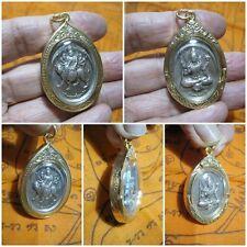 Silver Coin Uma Devi & Shiva in Gold Case Thai Amulet Pendant G31-2