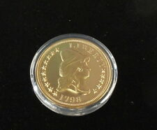 2 OZ 999 Silver Layered in 24K Gold Fantasy Coin Medal - 1798 US Coin -