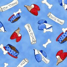 Fabric A Dog's Life Things Tossed on Blue Cotton 1 Yard S