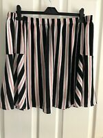 PRIMARK Navy Red White Stripe Bardot Off Shoulder Bell Sleeve Blouse, Size 14