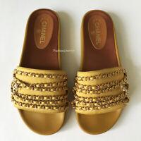 NIB CHANEL CUBA Tropiconic Chain Slides Mustard Gold Sandals Flats 42