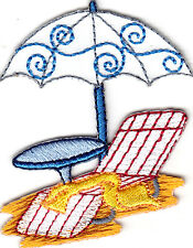 BEACH CHAIR, TABLE & UMBRELLA - VACATION - TROPICAL - Iron On  Embroidered Patch