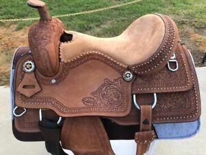 "Western Trail/Pleasure Saddle Leather tooled Horse Tack 15""16""17""18"""
