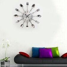 Modern Knife Fork 3D Knife Fork Wall Clock Analog Art Stainless Steel for Home