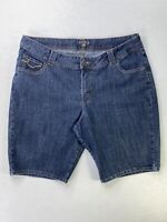 RIDERS by LEE WOMEN'S PLUS SIZE 20W BLUE DENIM BERMUDA/LONG SHORTS STRETCH