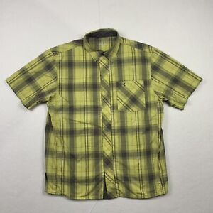Under Armour Mens Large Lightweight Short Sleeve Button Up Yellow Plaid