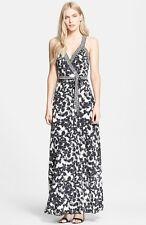 Diane von Furstenberg Black White Eden Garden Samson Silk Maxi Dress $548 NWT 10