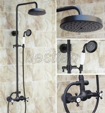 Black Oil Rubbed Bronze Bathroom Rainfall Shower Faucet Set Mixer Tap srs495