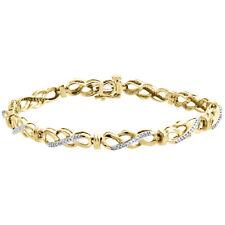 Pulseras 9ct Oro Amarillo Puesto Pavé Brazalete De Diamantes Nuevo Relojes Y Joyas