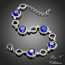 Platinum Plated Blue Swiss Cubic Zirconia Clear Round Crystal Bracelet