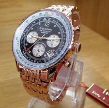 Herren Rose Gold Schwarz Krug-Baumen AIR TRAVELLER Piloten Chrono Watch 400602DS OVP
