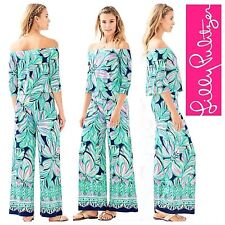 New Lilly Pulitzer WESLEE SET High Tide Navy Dancing Lady Top Pants Pink S L