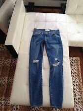 Auth FRAME Denim Le Skinny ripped distressed Blue Jeans-24