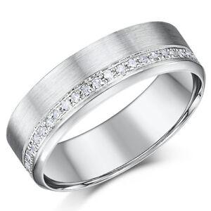 9ct or Blanc Diamant Bague 6mm Brossé Mariage Bague 0.19pts