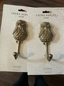 Pair Laura Ashley Curtain Hook Holdbacks Owl Hook