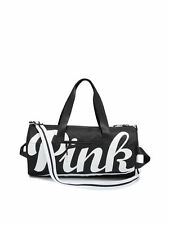 Victoria's Secret PINK Black & White Zippered Duffle Bag VS PINK Logo BNWT