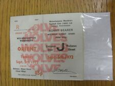 05/09/1972 Ticket: Wolverhampton Wanderers v Leyton Orient [Football League Cup]