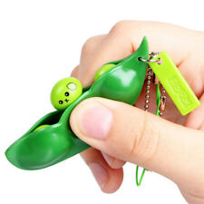 Squishy Squeeze Peas Bean Keychain Anti Stress Toy Decompression Rubber Relaxer