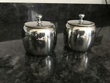 2 x Vintage Stainless Steel Sugar Bowls with Lids