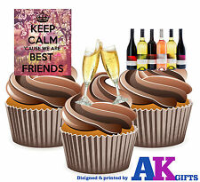 PRECUT Keep Calm Best Friends Wine 12 Edible Cupcake Toppers Decoration Birthday