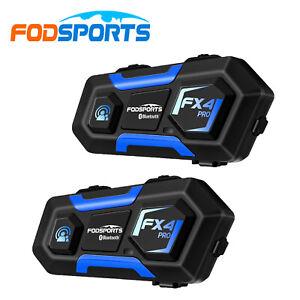 2x FX4 Pro 1000M Motorcycle Helmet Bluetooth Intercom Intercom with Fm Radio