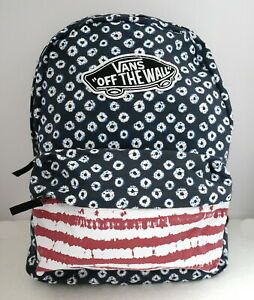 VANS REALM (RED/WHITE/BLUE DYED DOTS) BACKPACK MSRP $38- BRAND NEW w/TAG!