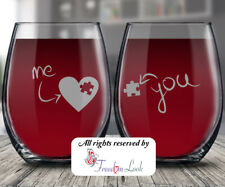 Me & You Valentine Heart Puzzle Stemless Wine Glass, Perfect Anniversary Gift