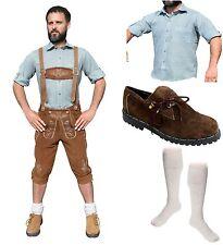 5-teiliges Trachtenset hell E Trachtenlederhose 46-60 Schuhe,Hemd,lange Socken