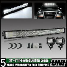 "34inch 468W LED Light Bar Flood Spot Driving + 4"" Pods For 4X4 Pickup ATV VS 32"""