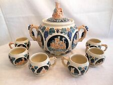 STUNNING VINTAGE GERMANY CERAMIC STONEWARE PUNCH BOWL CASTLE & 6 MUGS SET