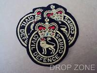 British Military Army Civil Defence Corps Patches / Badges x 3 Queen's Crown