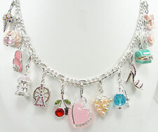 "Sterling Silver Charm Necklace Enamel 20"" Multiple Charms Enamel Figaro Link"