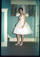 Pretty Woman in White Retro Dress Dance 1962 60s Vintage 35mm Kodachrome Slide